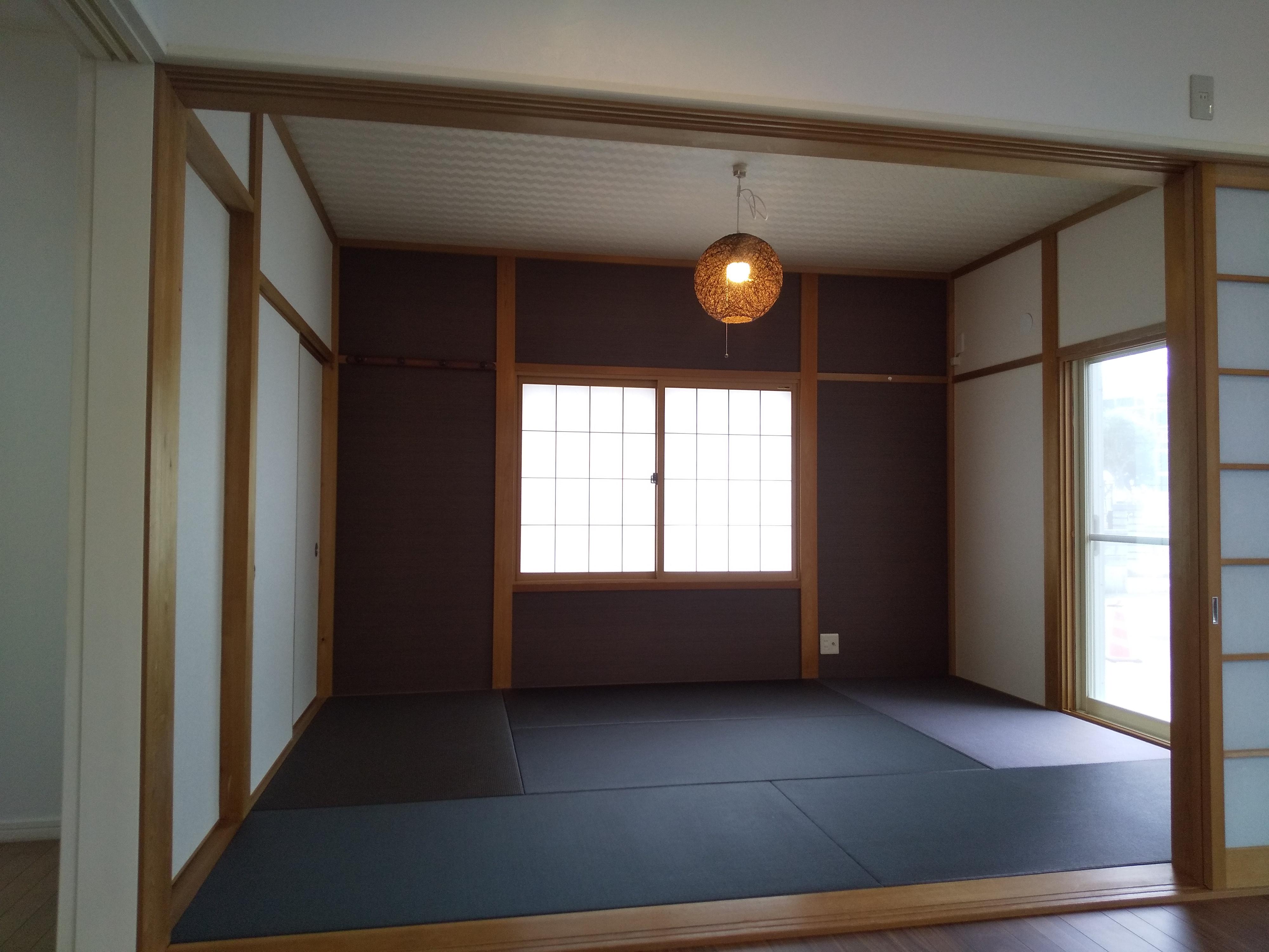 和室完成 壁貼り替え、畳入れ替え