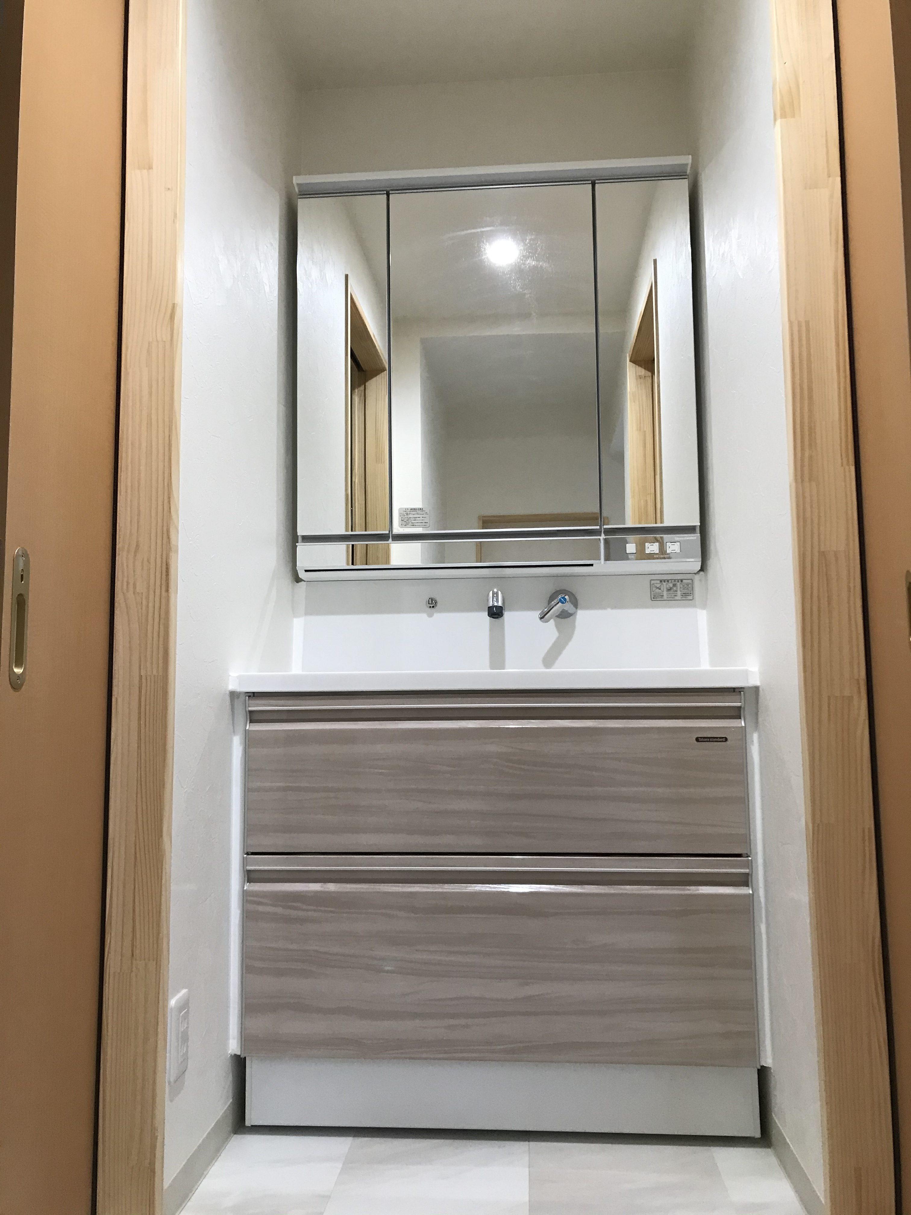 洗面化粧台 タカラ ドレシオ:たっぷり収納、広い洗面カウンター