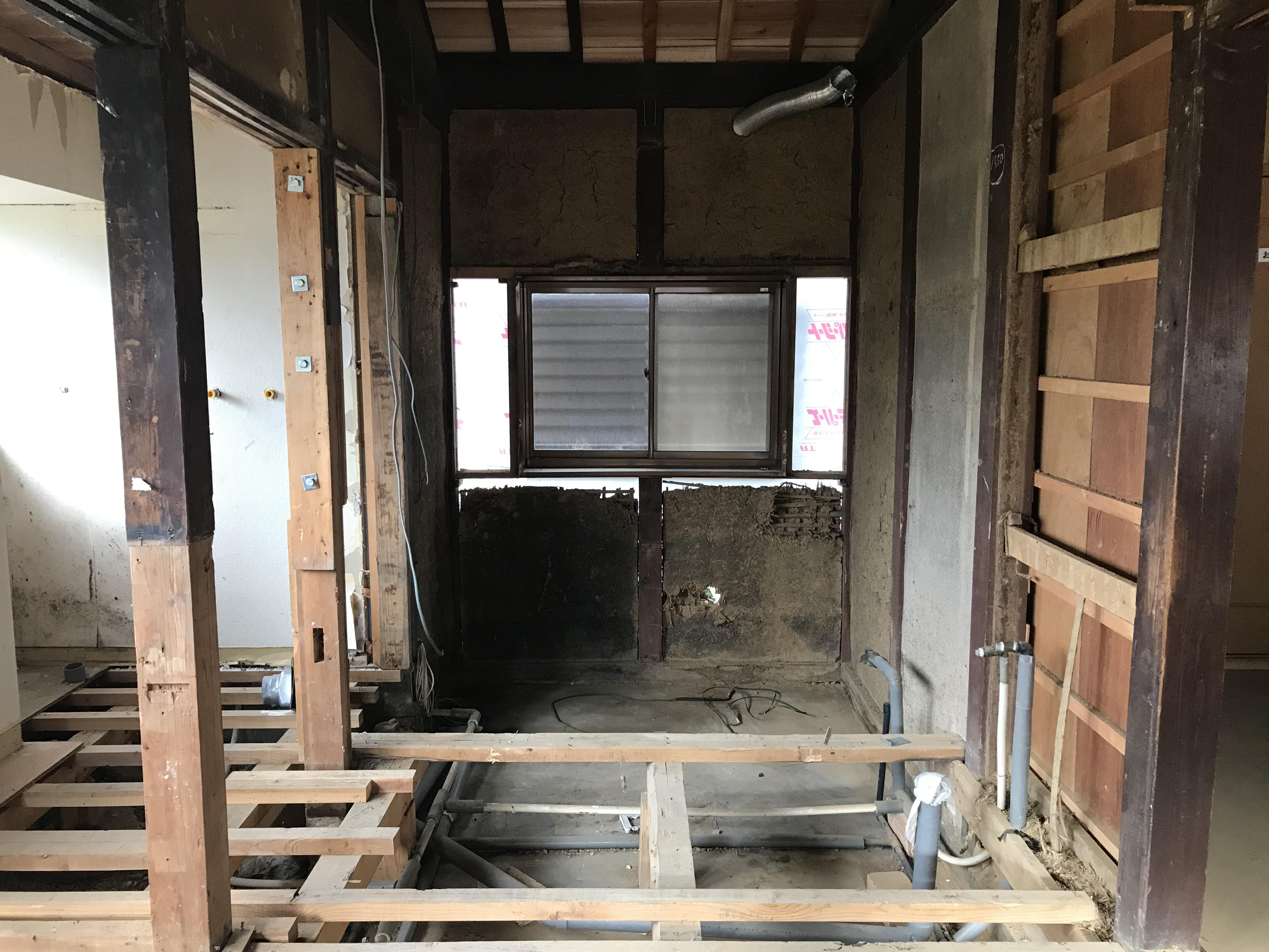 施工開始:風呂解体・撤去