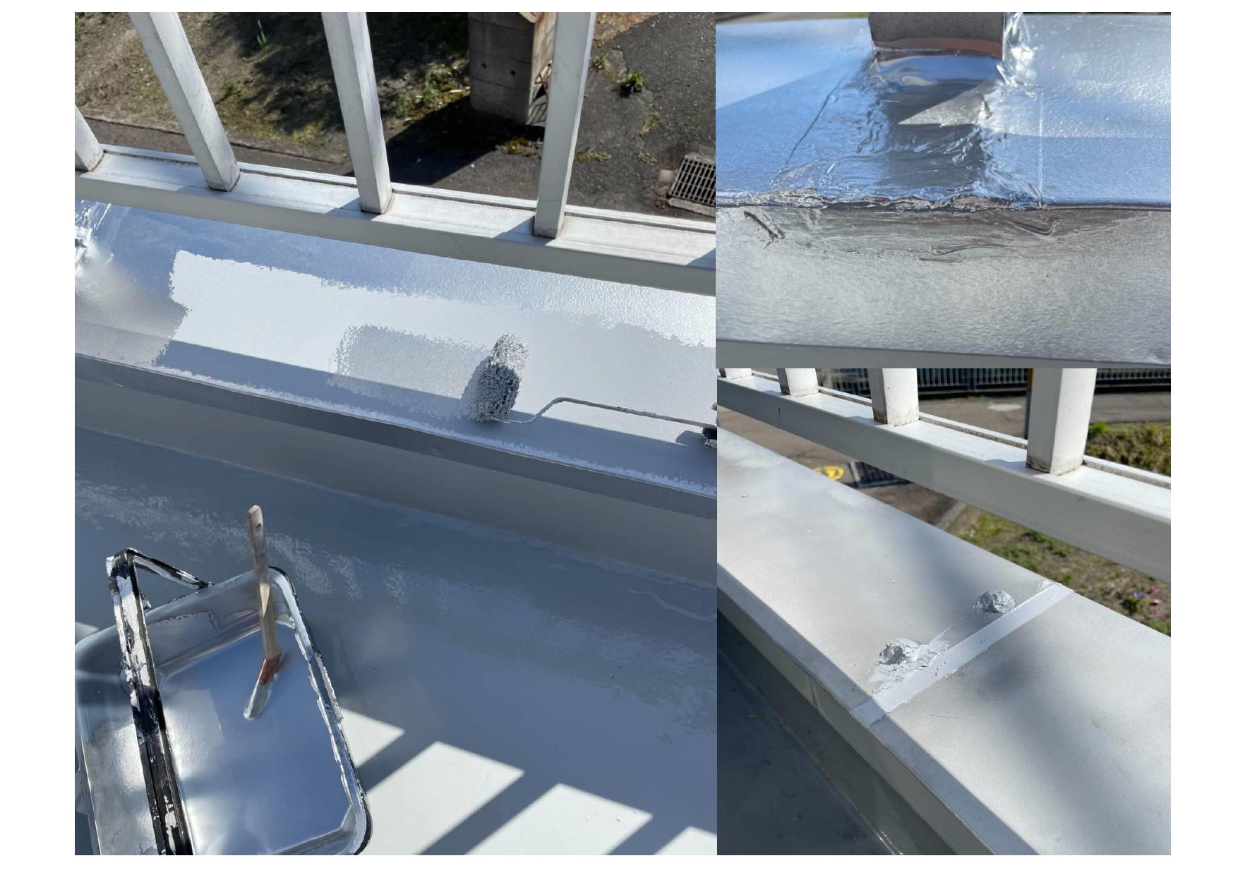 ウレタンプライマー施工でひび割れを補修、コーキング打替え、笠木塗装